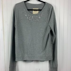 Hollister embellished front gray sweater